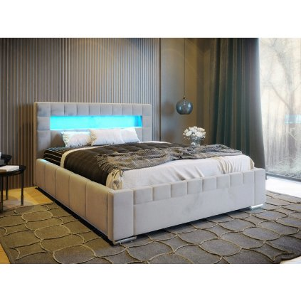 PROXIMA.store manzelaska calunena postel VEGAS s podsvietenim LED RGB svetlosivy velur 3