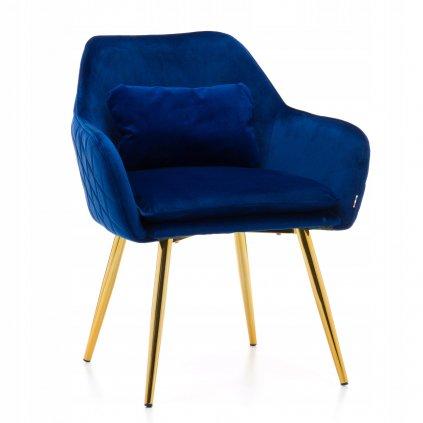 PROXIMA.store jedalenske kreslo taliansky dizajn VOMANO velur modre 4