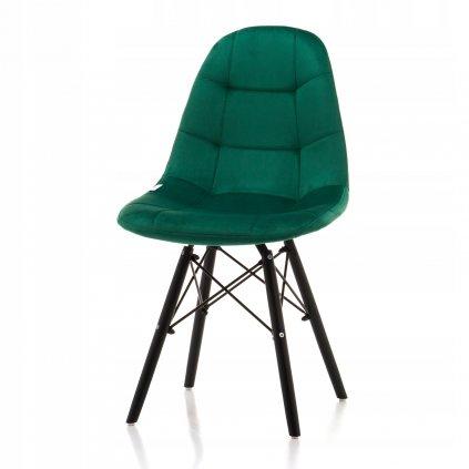PROXIMA.store čalunena stolicka skandinavsky dizajn MOON zelená cierne nohy 2