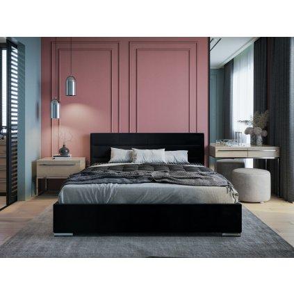 PROXIMA.store moderna calunena postel bari s nadcasovym dizajnom čierna 1