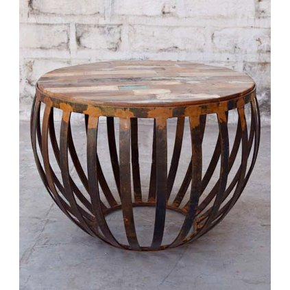 Indický orientálny kruhový konferenčný stolík do obývačky mango železný PROXIMA.store