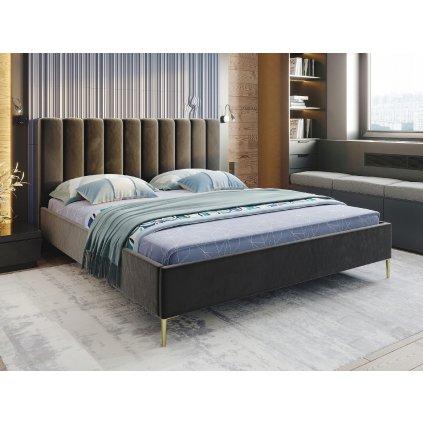 PROXIMA.store manzelska calunena postel na mieru CAROLLA farba na mieru cierna 1