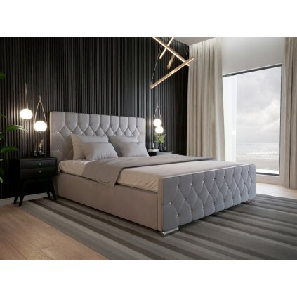 Luxusná posteľ AMADEUS - Svetlosivá - 160