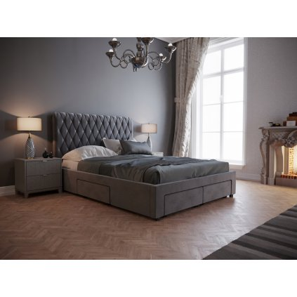 Čalúnená posteľ Antonio - Tmavo sivá 160/180