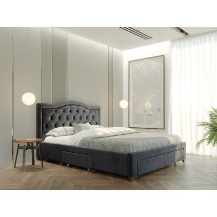 PROXIMA.store Manželská posteľ electra Tmavosivá 3