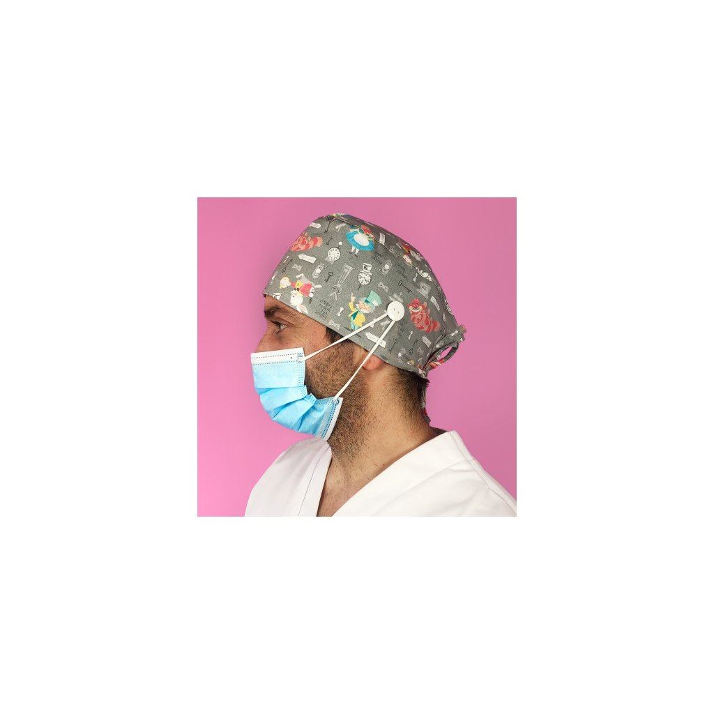 short hair surgical cap with buttons alice