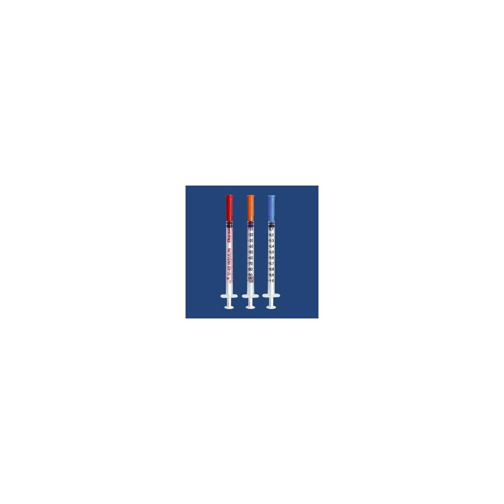 """Chirana inzulínová stříkačka s jehlou 1 ml, U100, 0,33 x 12 mm, 27G x 1/2"""", 100 ks"""