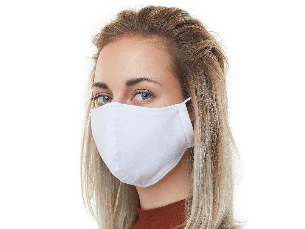 Textilní Antibakteriální rouška s aktivním NANO stříbrem Znovupoužitelná - Bílá
