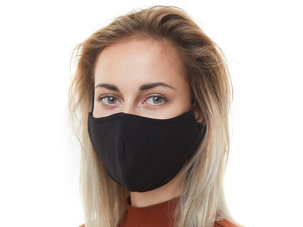Textilní Antibakteriální rouška s aktivním NANO stříbrem Znovupoužitelná - Černá