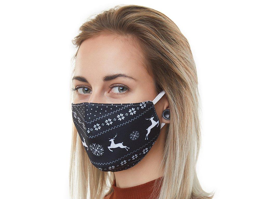 Textilní Antibakteriální rouška s aktivním NANO stříbrem Znovupoužitelná - Vánoční sobi černá