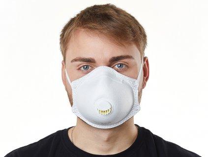 10x Prémiový respirátor FFP3 Bílý s ventilem (107 KČ/Ks bez DPH)