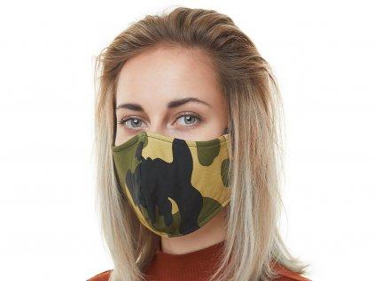 Textilní Antibakteriální rouška s aktivním NANO stříbrem Znovupoužitelná - Army