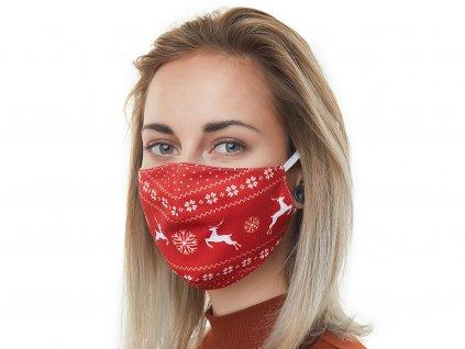 Textilní Antibakteriální rouška s aktivním NANO stříbrem Znovupoužitelná - Vánoční sobi červená