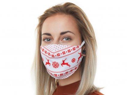 Textilní Antibakteriální rouška s aktivním NANO stříbrem Znovupoužitelná - Vánoční sobi bílá