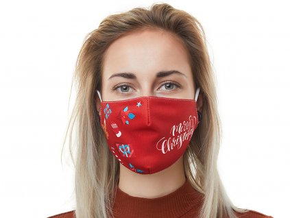 Textilní Antibakteriální rouška s aktivním NANO stříbrem Znovupoužitelná - Merry Christmas