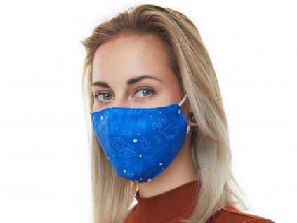 Textilní Antibakteriální rouška s aktivním NANO stříbrem Znovupoužitelná - Vánoční modrá