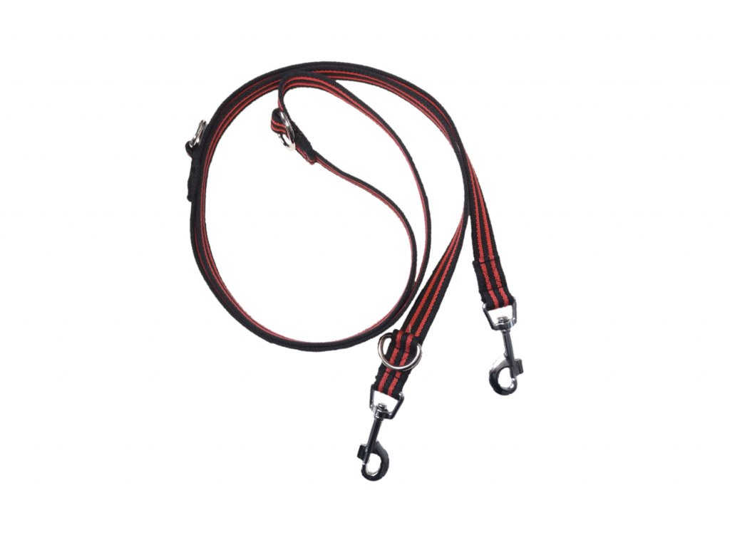Vodítko BUDDY 25mm bavlněné přepínací 220cm červeno-černé