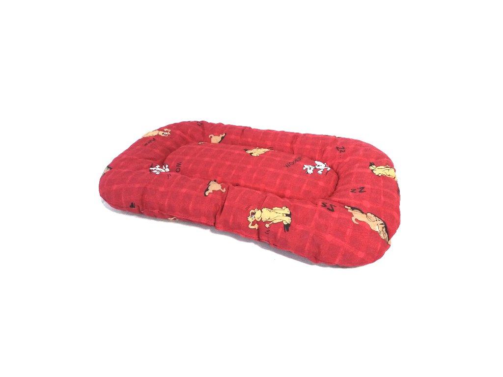 polštář 70 červený hnědý pes