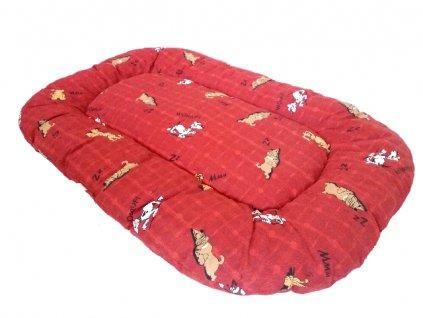 polštář 110 červený hnědý pes