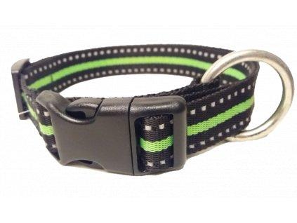 Obojek plochý 25mm REFLEX s protahovacím okem černý s antireflexním proužkem, délka 45-65cm