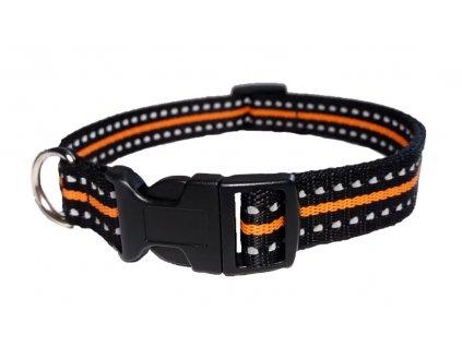 Obojek plochý 25mm REFLEX černý s antireflexním proužkem, délka 45-55 cm