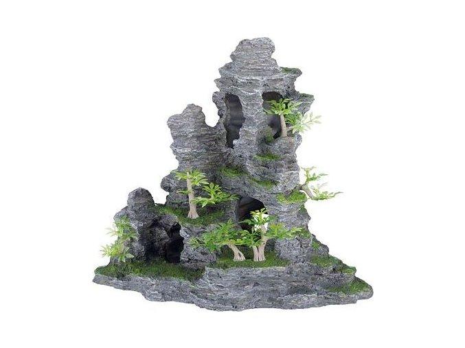 Skalní útvar s jeskyní a roslinami 31 cm