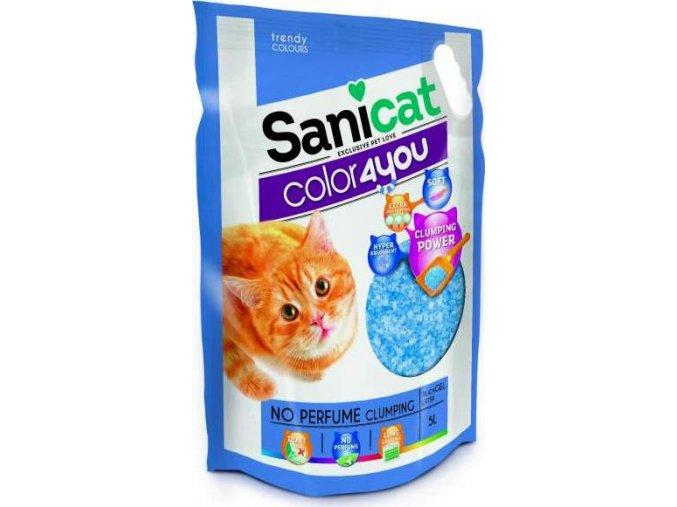 Sanicat COLOR4YOU modrý hrudkující silica gel 5L/2,4 kg