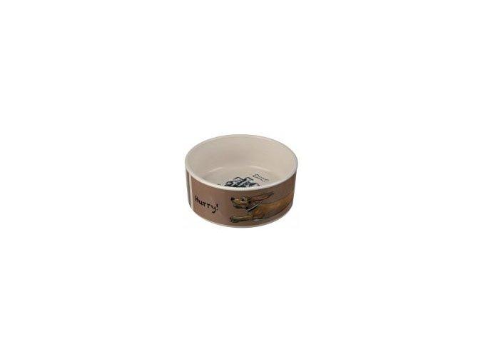 Keramická miska béžovo/hnědá se psem 1,5 l / 20 cm
