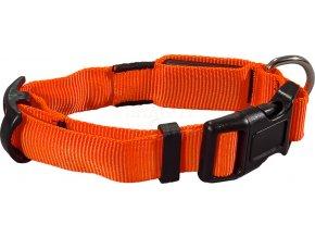 Flash nylonový svítící obojek M-L 40-55 cm/25 mm oranžový
