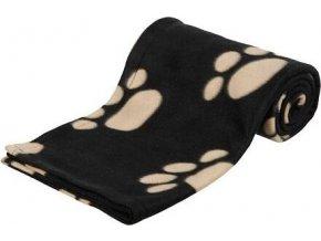Flaušová deka BARNEY 150x100cm - černá s béžovými tlapkami
