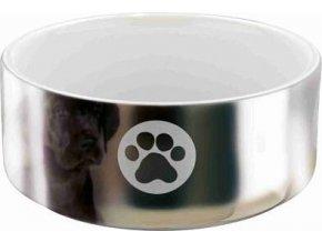 Keramická miska pro psy s packami 0,3 l/12 cm stříbrno/bílá