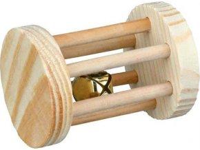 Dřevěný váleček s rolničkou hračka pro morče,králíka 5x7 cm