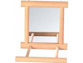 Zrcátko v dřevěném rámečku s bidýlkem 9 x 9 cm