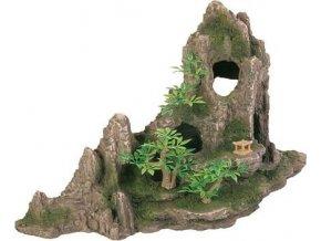 Dekorace skála + jeskyň a rostliny 27cm