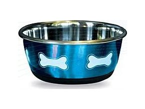 Miska nerez protiskluz Modrá s kostí, 950ml Lill