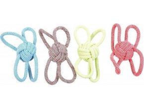 Hračka lano Míč uzel + 4 smyčky DUVO+ 25,5 cm