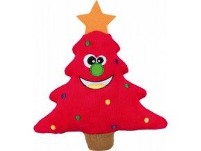 Vánoční plyšové stromečky s obličejem, se zvukem 22 cm