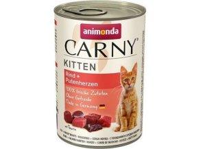 ANIMONDA konzerva CARNY Kitten - hovězí + krůtí srdce 400g