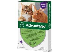 Advantage 80mg pro velké kočky a králíky, 4x 0,8ml roztok pro nakapání na kůži - spot-on, fialový