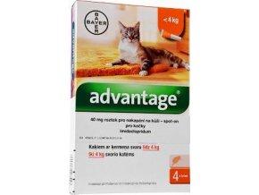 Advantage 40mg pro malé kočky a králíky, 4x 0,4ml roztok pro nakapání na kůži - spot-on, oranžový