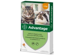 Advantage 40mg pro malé kočky a králíky, 1x 0,4ml roztok pro nakapání na kůži - spot-on, oranžový