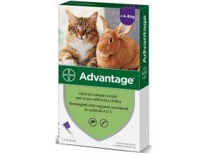 Advantage 80mg pro velké kočky a králíky, 1x 0,8ml roztok pro nakapání na kůži - spot-on, fialový