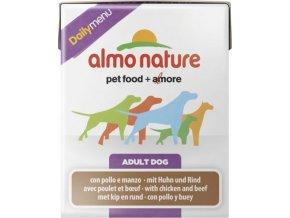 Almo Nature Daily Menu WET DOG - Kuře a hovězí 375g tetrapack