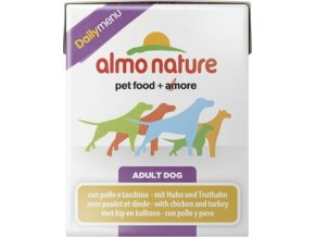 Almo Nature Daily Menu WET DOG - Kuře a krůta 375g tetrapack