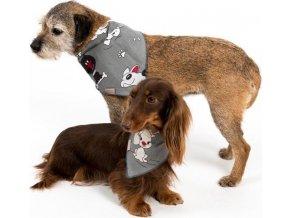 """Šátek bavlna""""Falco""""zavazovacíí potisk psi šedý L"""