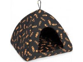 Iglú bavl. Bambi hnědo-oranžový kost ryba 45 x 45 x 38 cm