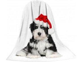Deka TEXSTAR mikrovlákno 280g 150 x 200 cm - štěně vánoční