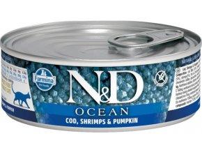 N&D CAT OCEAN Adult Codfish & Shrimps & Pumpkin 80g  Kup 1ks a přidám ti 1ks ZDARMA!