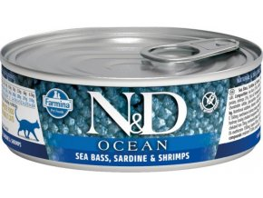 N&D CAT OCEAN Adult Sea Bass & Sardine & Shrimps 80g  Kup 1ks a přidám ti 1ks ZDARMA!