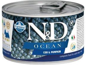 N&D DOG OCEAN Adult Codfish & Pumpkin Mini 140g  Kup 1ks a přidám ti 1ks ZDARMA!